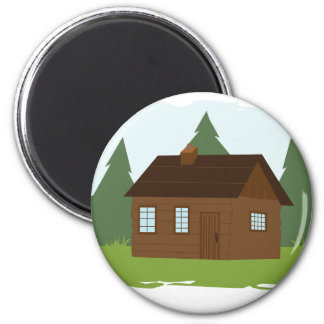 Cabin in the Trees 2 Inch Round Magnet
