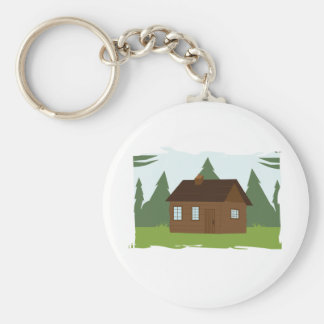 Cabin in the Trees Basic Round Button Keychain