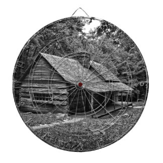 Cabin in the woods dartboard with darts