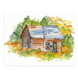Cabin Ink Pen Sketch Postcard Watercolor Landscape