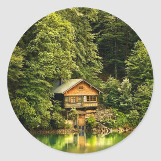 Cabin Lake House Classic Round Sticker