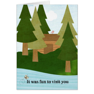 Cabin-Lake Visit-Thank You for Hospitality Stationery Note Card