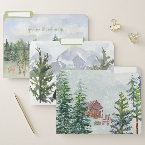 Cabin Life Mountains Pines Bear Deer Nature File Folder