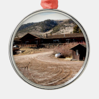 Cabin on the Mountain Metal Ornament