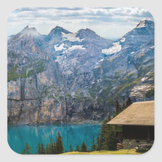 Cabin overlooking the Mountains and Lake Square Sticker