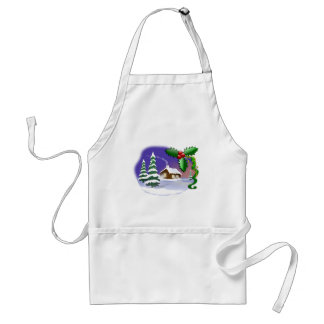 Cabin, Pine Trees, & Holly Christmas Winter Scene Adult Apron