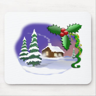 Cabin, Pine Trees, & Holly Christmas Winter Scene Mouse Pad