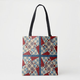Cabin Plaid Twisted Star Quilt Tote Bag
