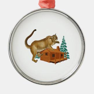 Cabin Pounce Metal Ornament