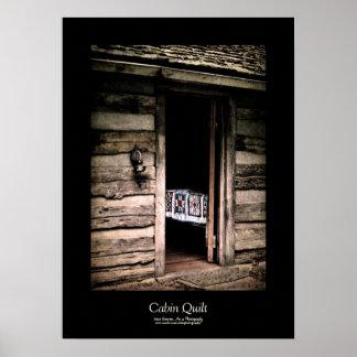 Cabin Quilt Black Border Posters