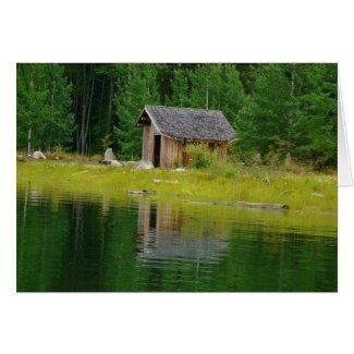 Cabin Reflected in Mountain Lake card