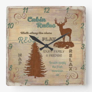 Cabin Rules Mountain or Lake Lodge Home Decor Square Wall Clock