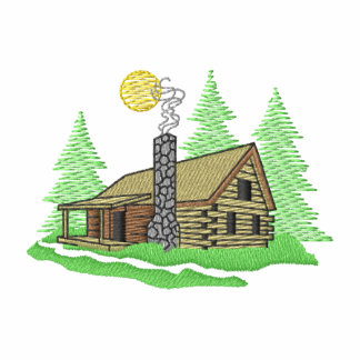 Cabin Scene Embroidered Hoody