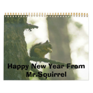 cabin squirrel, Happy New Year From Mr.Squirrel Calendar