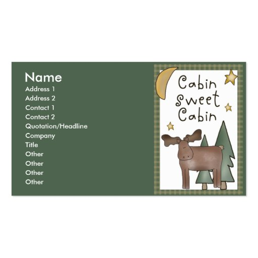 Cabin Sweet Cabin Northwoods Business Cards