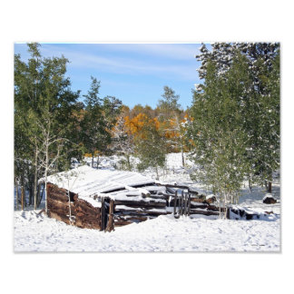 Cabin Under Early Snow Photographic Print