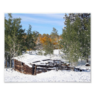 Cabin Under Early Snow Photo Print