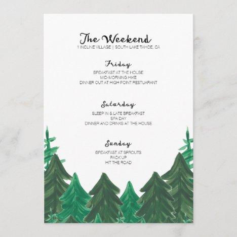 Cabin Weekend Itinerary - Bachelorette Party Weeke Program