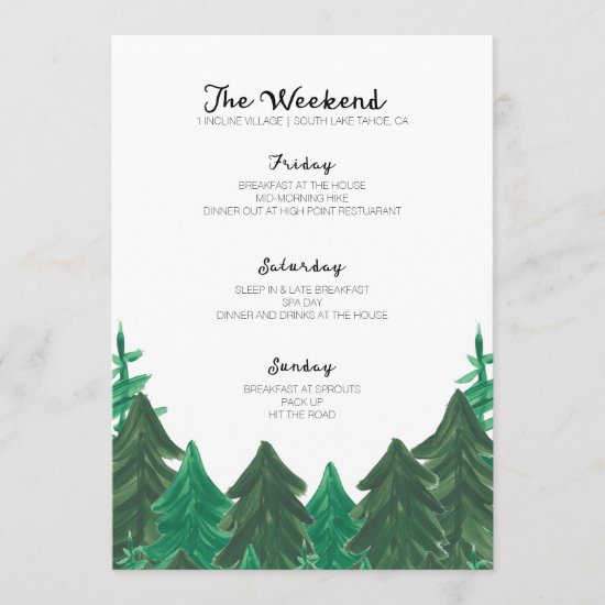 Cabin Weekend Itinerary - Bachelorette Party Weeke Program