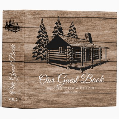 Cabin Welcome Guest Book Rustic Personalized 3 Ring Binder