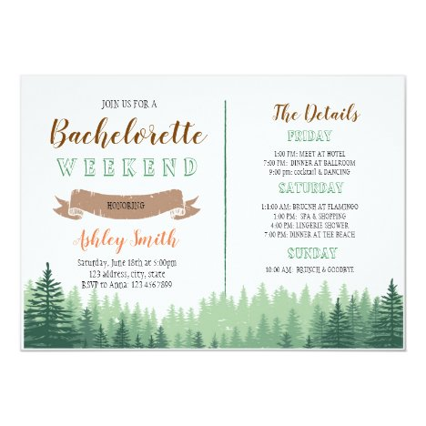 Cabin woods bachelorette with Itinerary invitation