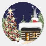 Cabina acogedora del navidad pegatina redonda