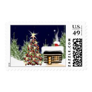 Cabina adornada del invierno de Navidad del árbol Estampilla
