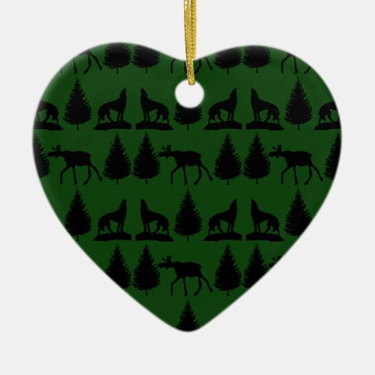 Cabina de la montaña del desierto del lobo de los adorno navideño de cerámica en forma de corazón