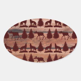 Cabina de la montaña del desierto del lobo de los calcomania óval