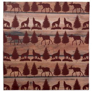 Cabina de la montaña del desierto del lobo de los  servilleta de papel