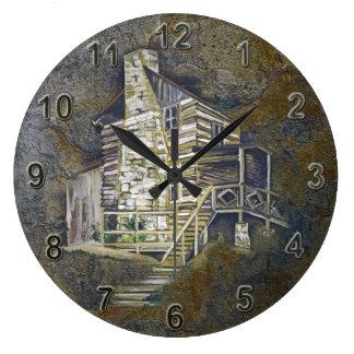 Cabina de la montaña reloj redondo grande