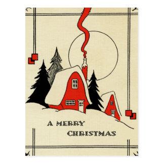 Cabina de la nieve del navidad del vintage postal