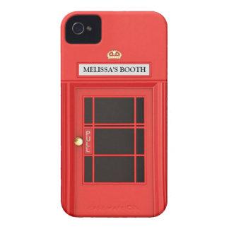 Cabina de teléfono británica de Oldschool iPhone 4 Case-Mate Protectores