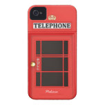 Cabina de teléfono británica de Oldschool Case-Mate iPhone 4 Cárcasas