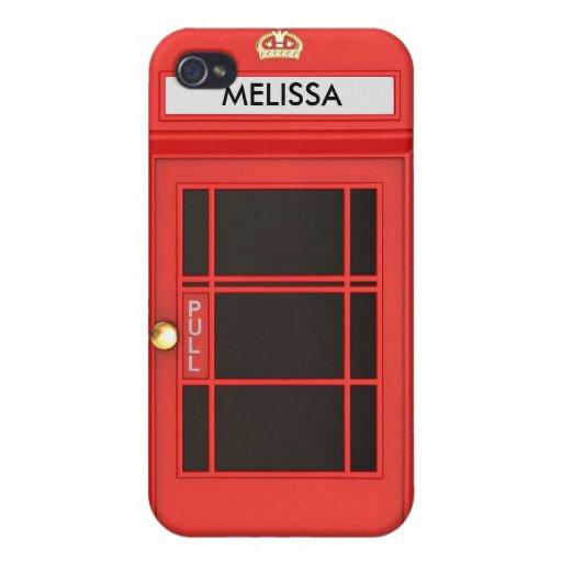 Cabina de teléfono británica de Oldschool iPhone 4/4S Fundas