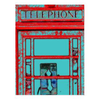 Cabina de teléfono británica del estilo tarjetas postales