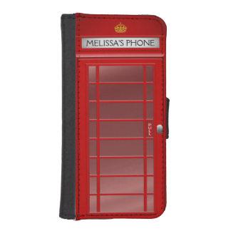 Cabina de teléfono británica personalizada del funda tipo billetera para iPhone 5