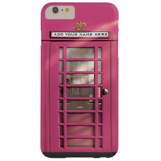 Cabina de teléfono británica rosada femenina funda de iPhone 6 plus barely there