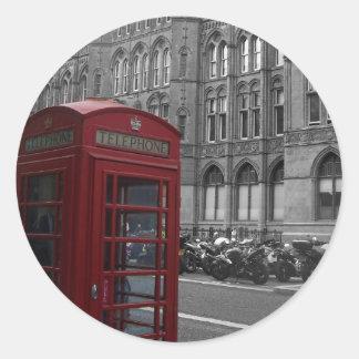 Cabina de teléfono de Londres Pegatina Redonda