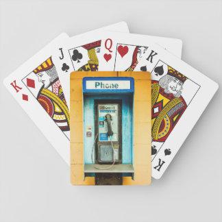 Cabina de teléfono del teléfono de pago barajas de cartas