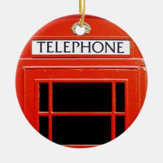 Cabina de teléfono del vintage adorno redondo de cerámica