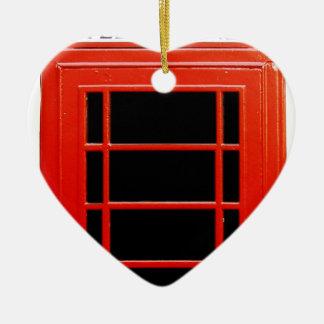 Cabina de teléfono del vintage adorno de cerámica en forma de corazón