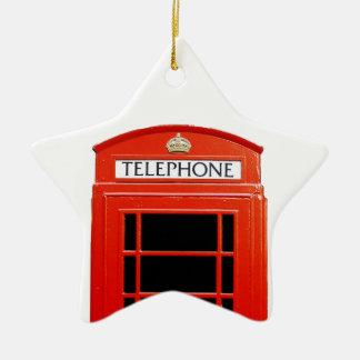 Cabina de teléfono del vintage adorno de cerámica en forma de estrella