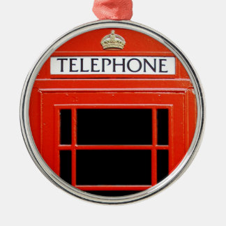 Cabina de teléfono del vintage adorno redondo plateado