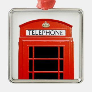 Cabina de teléfono del vintage adorno cuadrado plateado