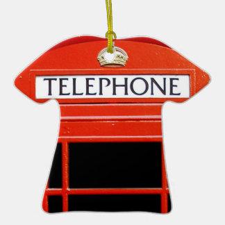 Cabina de teléfono del vintage adorno de cerámica en forma de playera