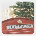 Cabina de teléfono en Londres Inglaterra Pegatina Cuadradas