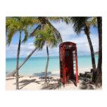 Cabina de teléfono público roja en Antigua Postal