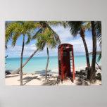 Cabina de teléfono público roja en Antigua Posters