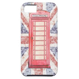 Cabina de teléfono roja británica en el fondo de iPhone 5 funda